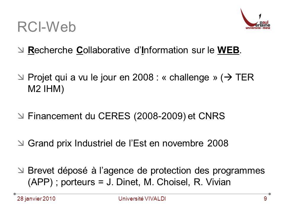 28 janvier 2010Université VIVALDI9 RCI-Web Recherche Collaborative dInformation sur le WEB.
