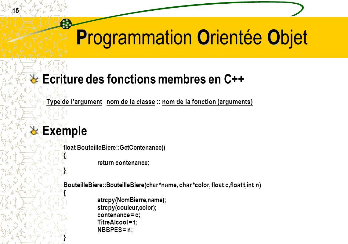 15 POO P rogrammation O rientée O bjet Ecriture des fonctions membres en C++ Type de largument nom de la classe :: nom de la fonction (arguments) Exem