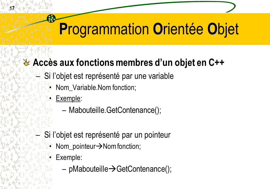 17 POO P rogrammation O rientée O bjet Accès aux fonctions membres dun objet en C++ –Si lobjet est représenté par une variable Nom_Variable.Nom foncti