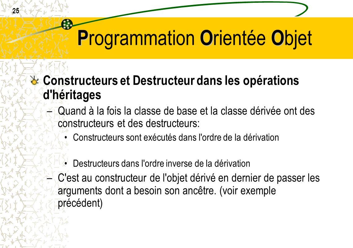 25 POO P rogrammation O rientée O bjet Constructeurs et Destructeur dans les opérations d'héritages –Quand à la fois la classe de base et la classe dé