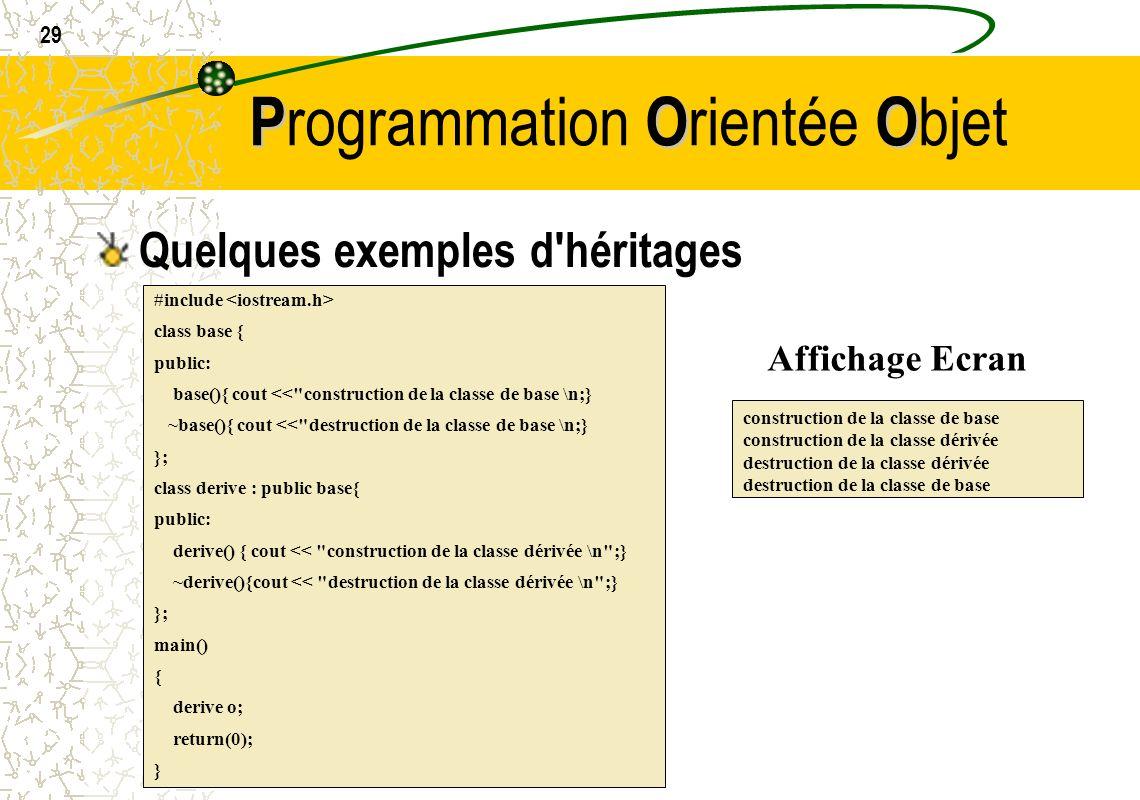 29 POO P rogrammation O rientée O bjet Quelques exemples d'héritages #include class base { public: base(){ cout <<