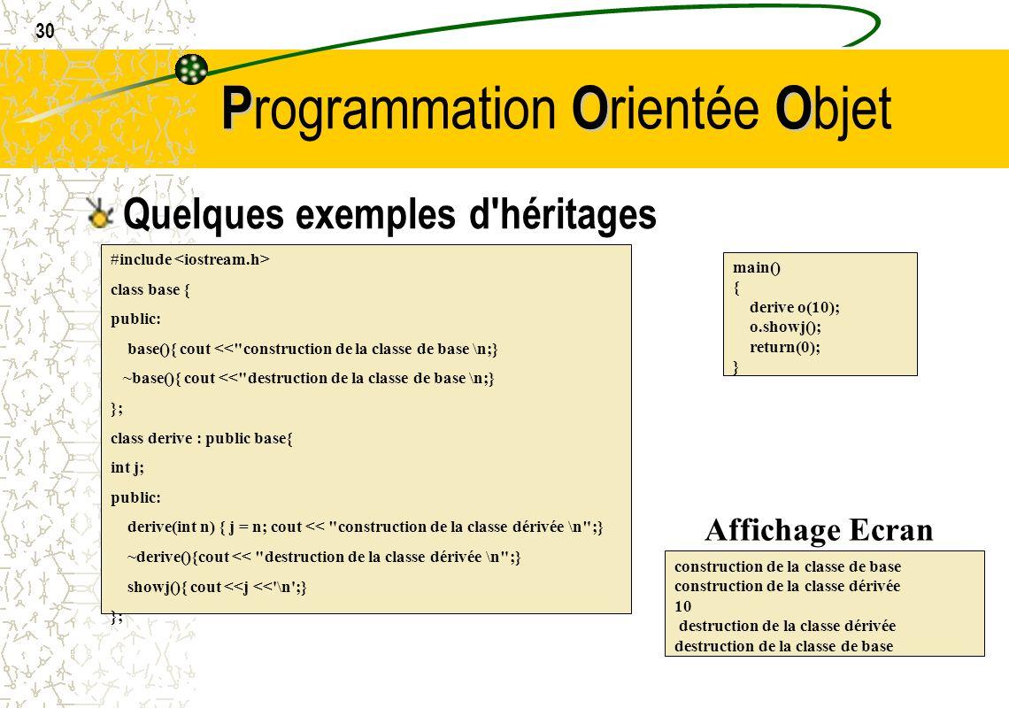 30 POO P rogrammation O rientée O bjet Quelques exemples d'héritages #include class base { public: base(){ cout <<