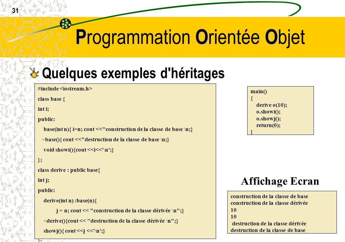 31 POO P rogrammation O rientée O bjet Quelques exemples d'héritages #include class base { int i; public: base(int n){ i=n; cout <<