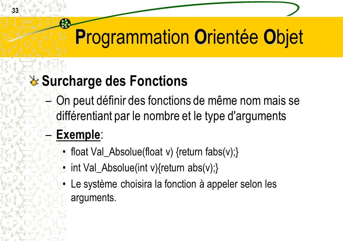 33 POO P rogrammation O rientée O bjet Surcharge des Fonctions –On peut définir des fonctions de même nom mais se différentiant par le nombre et le ty