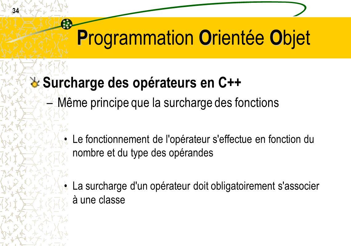 34 POO P rogrammation O rientée O bjet Surcharge des opérateurs en C++ –Même principe que la surcharge des fonctions Le fonctionnement de l'opérateur