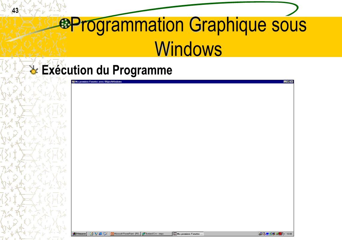 43 PG W Programmation Graphique sous Windows Exécution du Programme