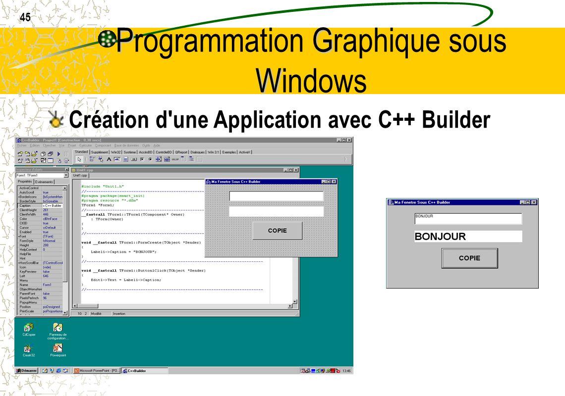 45 PG W Programmation Graphique sous Windows Création d'une Application avec C++ Builder