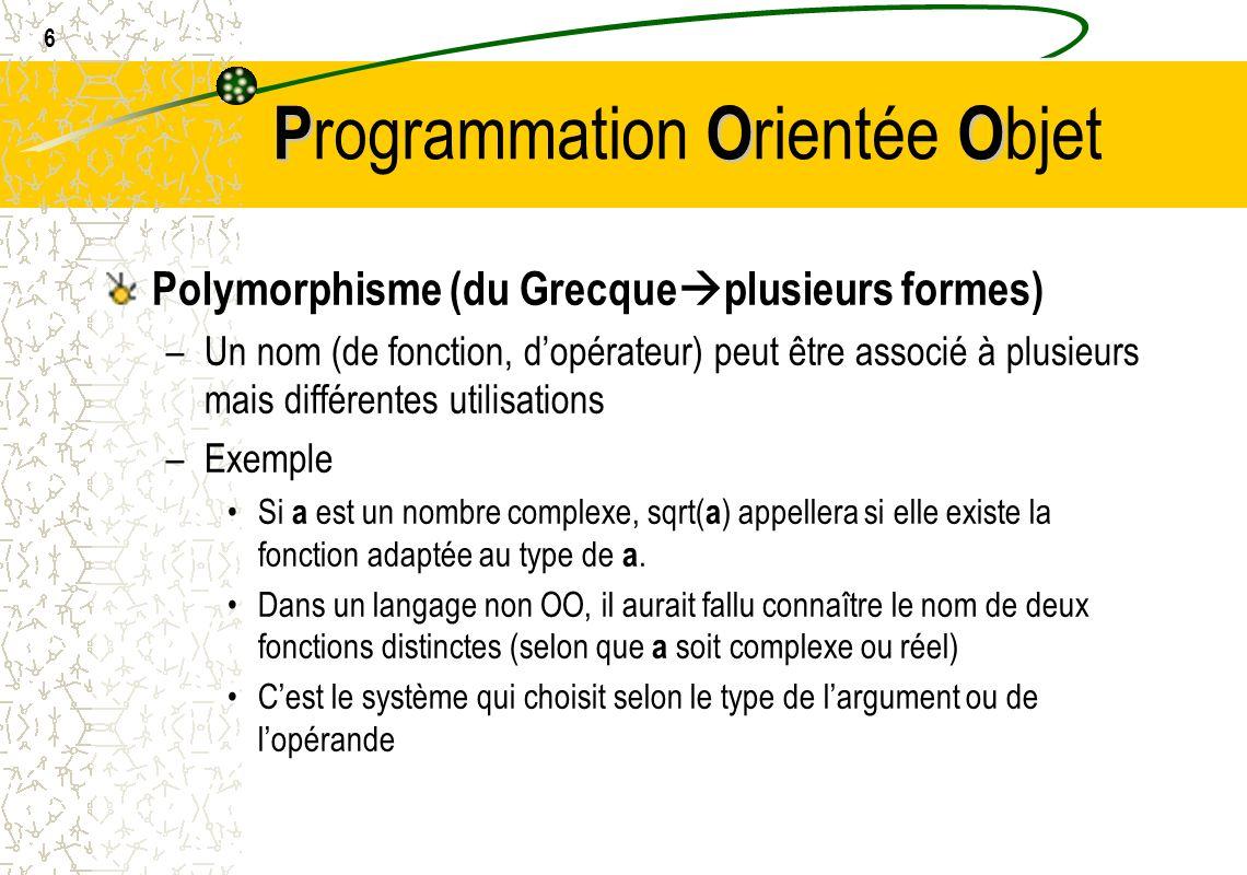 6 POO P rogrammation O rientée O bjet Polymorphisme (du Grecque plusieurs formes) –Un nom (de fonction, dopérateur) peut être associé à plusieurs mais