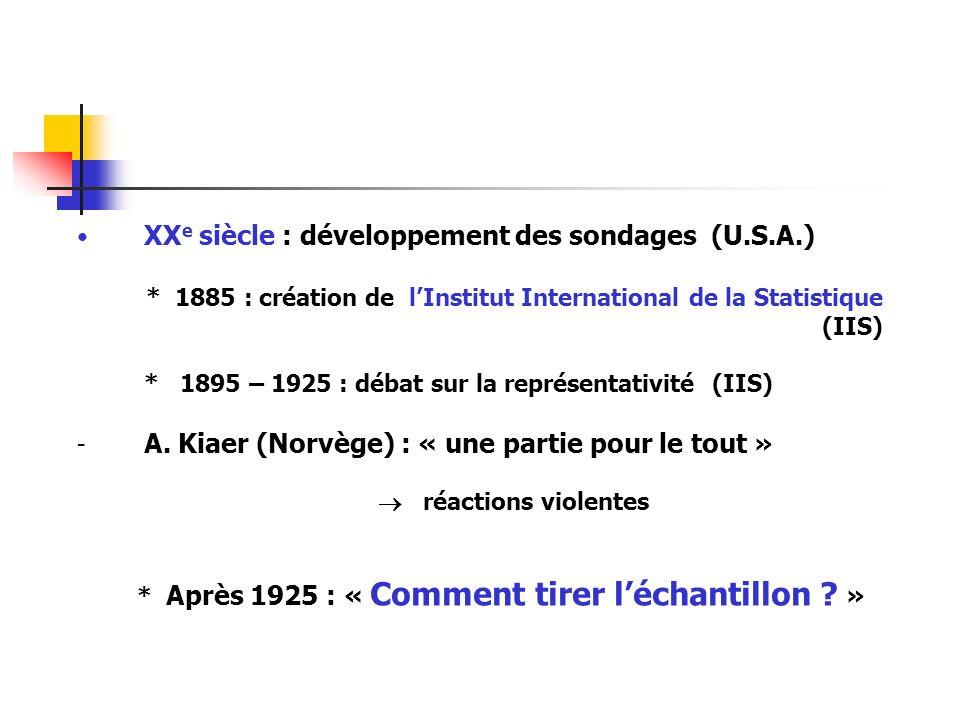XX e siècle : développement des sondages (U.S.A.) * 1885 : création de lInstitut International de la Statistique (IIS) * 1895 – 1925 : débat sur la re