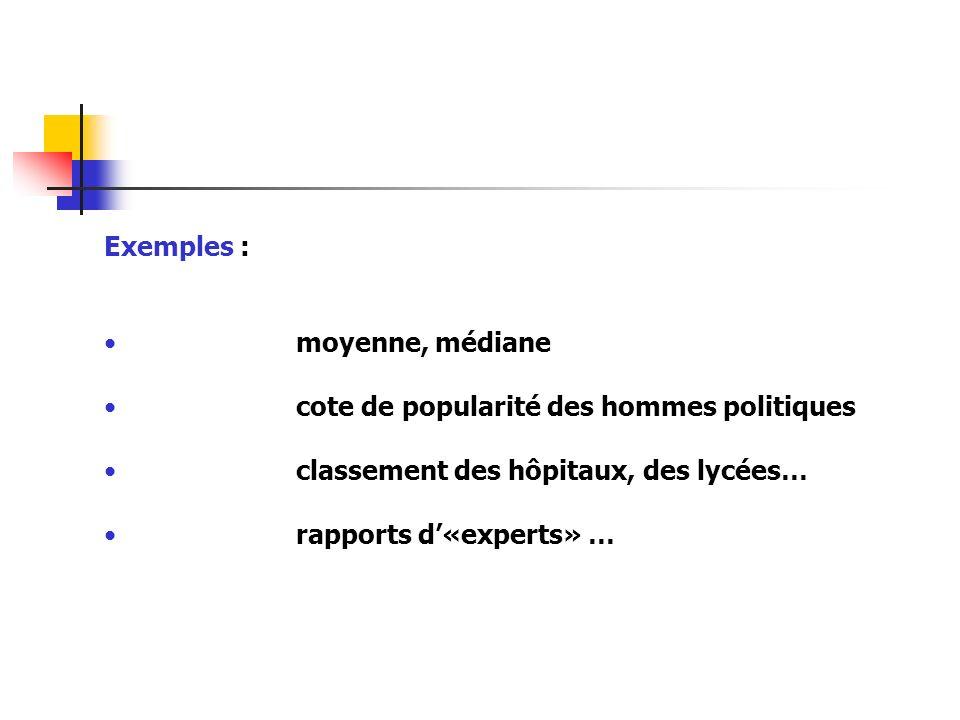 Exemples : moyenne, médiane cote de popularité des hommes politiques classement des hôpitaux, des lycées… rapports d«experts» …