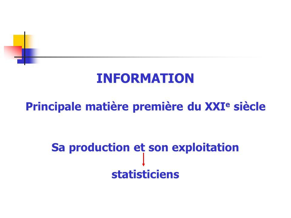 INFORMATION Principale matière première du XXI e siècle Sa production et son exploitation statisticiens