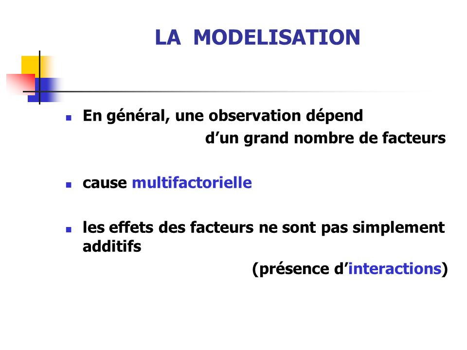 LA MODELISATION En général, une observation dépend dun grand nombre de facteurs cause multifactorielle les effets des facteurs ne sont pas simplement