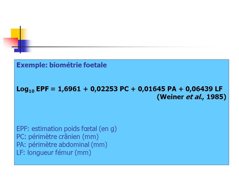 Exemple: biométrie foetale Log 10 EPF = 1,6961 + 0,02253 PC + 0,01645 PA + 0,06439 LF (Weiner et al., 1985) EPF: estimation poids fœtal (en g) PC: pér