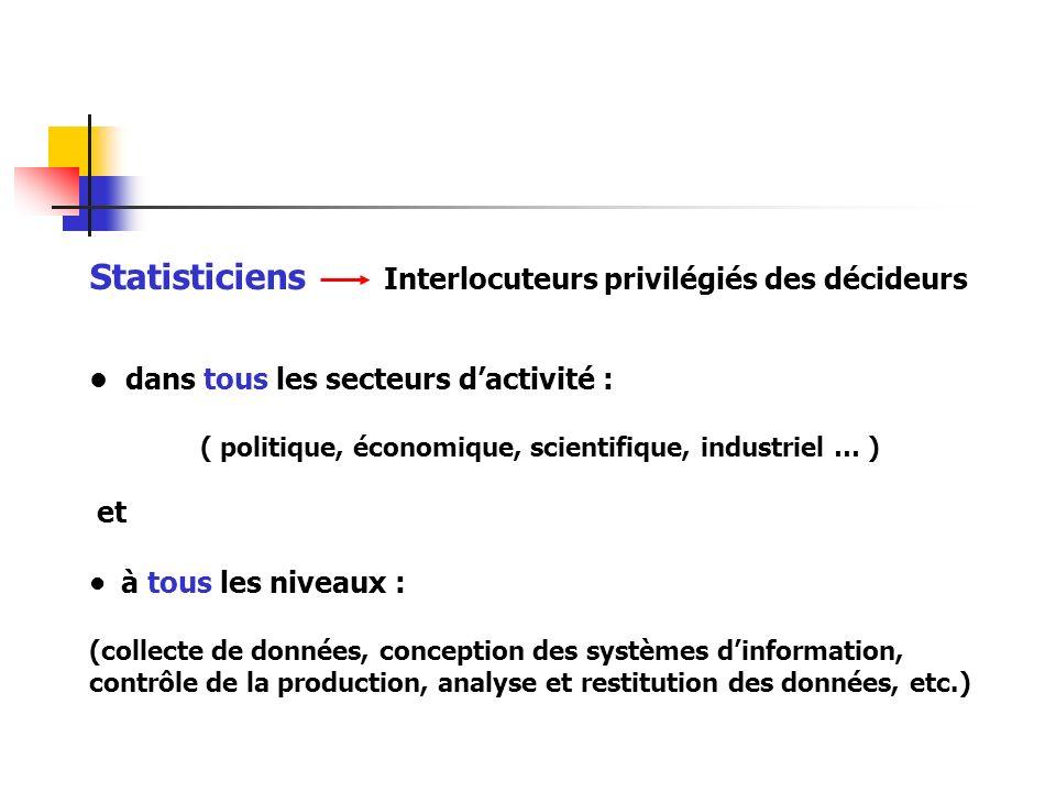 Statisticiens Interlocuteurs privilégiés des décideurs dans tous les secteurs dactivité : ( politique, économique, scientifique, industriel … ) et à t