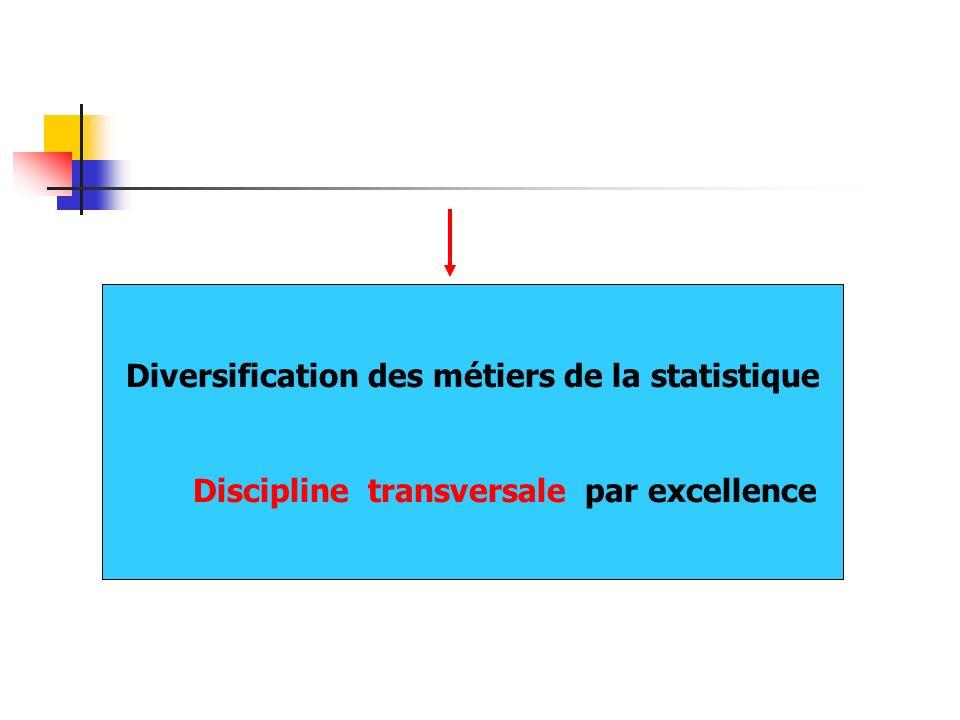 Diversification des métiers de la statistique Discipline transversale par excellence