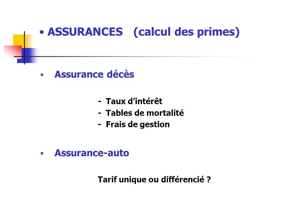 ASSURANCES (calcul des primes) Assurance décès - Taux dintérêt - Tables de mortalité - Frais de gestion Assurance-auto Tarif unique ou différencié ?