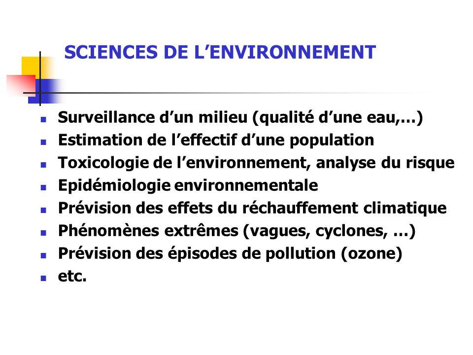 SCIENCES DE LENVIRONNEMENT Surveillance dun milieu (qualité dune eau,…) Estimation de leffectif dune population Toxicologie de lenvironnement, analyse
