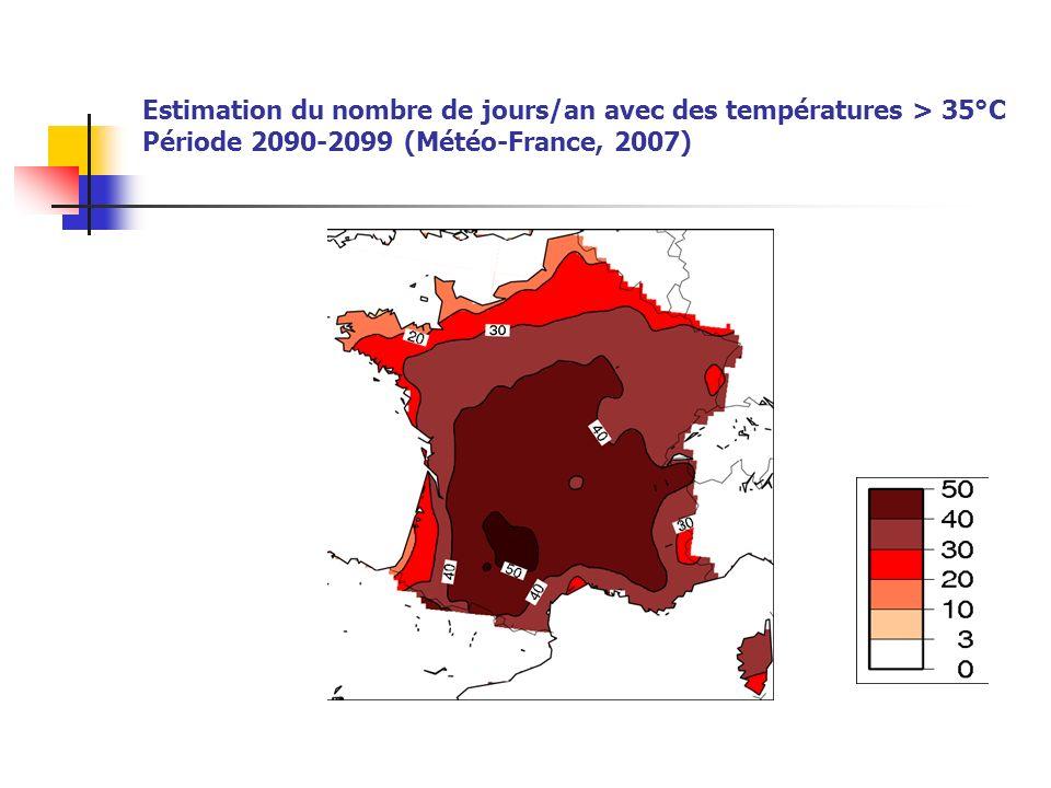 Estimation du nombre de jours/an avec des températures > 35°C Période 2090-2099 (Météo-France, 2007)