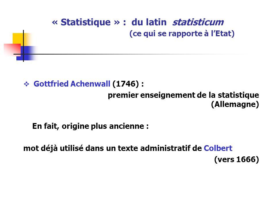 « Statistique » : du latin statisticum (ce qui se rapporte à lEtat) Gottfried Achenwall (1746) : premier enseignement de la statistique (Allemagne) En