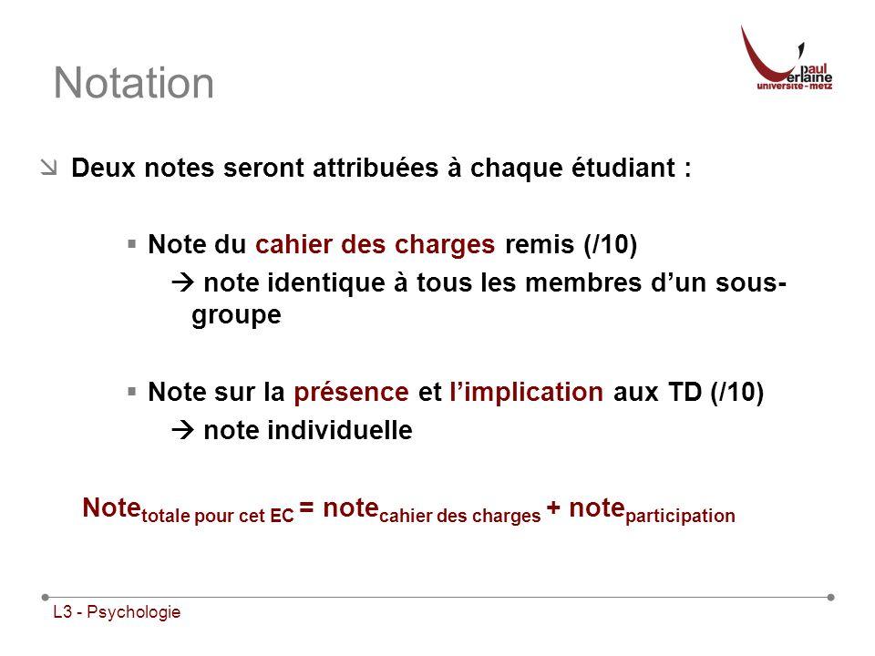 L3 - Psychologie Notation Deux notes seront attribuées à chaque étudiant : Note du cahier des charges remis (/10) note identique à tous les membres du