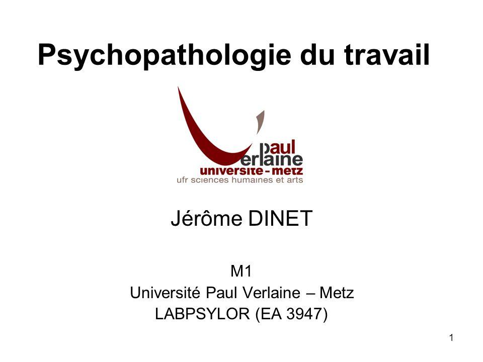 1 Psychopathologie du travail Jérôme DINET M1 Université Paul Verlaine – Metz LABPSYLOR (EA 3947)