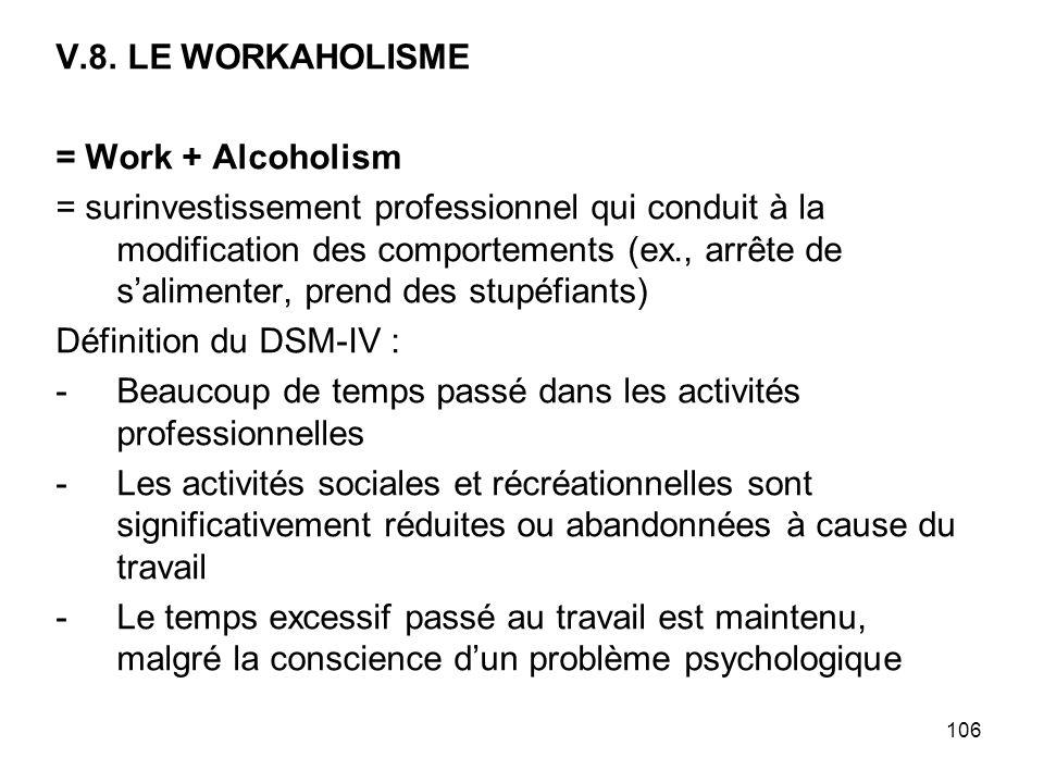 106 V.8. LE WORKAHOLISME = Work + Alcoholism = surinvestissement professionnel qui conduit à la modification des comportements (ex., arrête de salimen