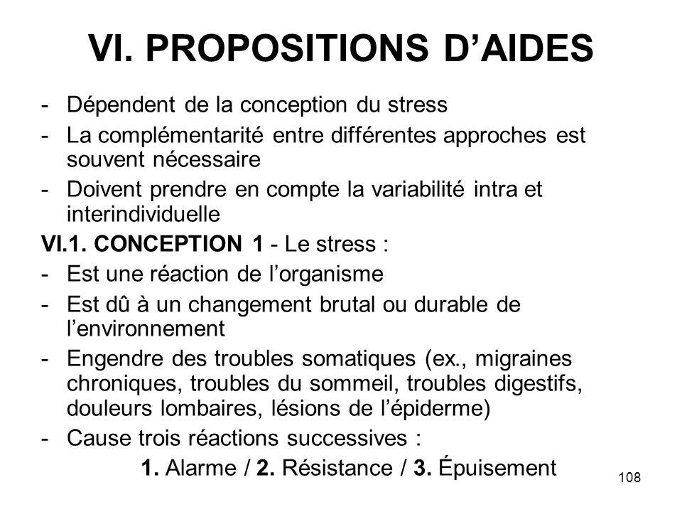 108 VI. PROPOSITIONS DAIDES -Dépendent de la conception du stress -La complémentarité entre différentes approches est souvent nécessaire -Doivent pren