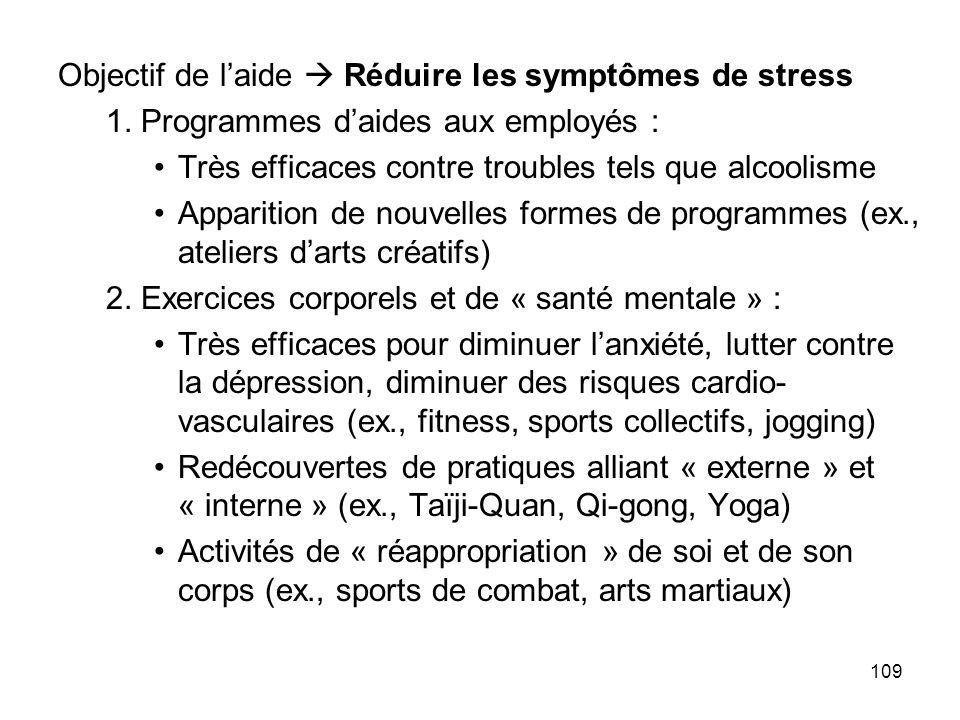 109 Objectif de laide Réduire les symptômes de stress 1. Programmes daides aux employés : Très efficaces contre troubles tels que alcoolisme Apparitio