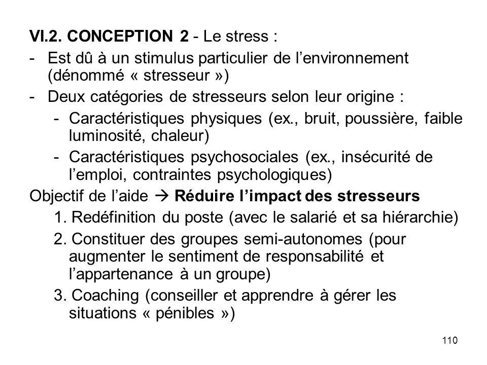 110 VI.2. CONCEPTION 2 - Le stress : -Est dû à un stimulus particulier de lenvironnement (dénommé « stresseur ») -Deux catégories de stresseurs selon