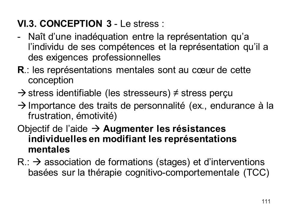 111 VI.3. CONCEPTION 3 - Le stress : -Naît dune inadéquation entre la représentation qua lindividu de ses compétences et la représentation quil a des