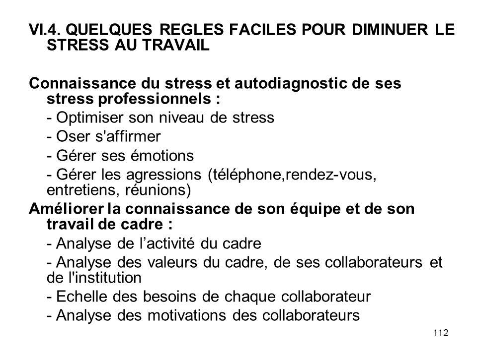 112 VI.4. QUELQUES REGLES FACILES POUR DIMINUER LE STRESS AU TRAVAIL Connaissance du stress et autodiagnostic de ses stress professionnels : - Optimis