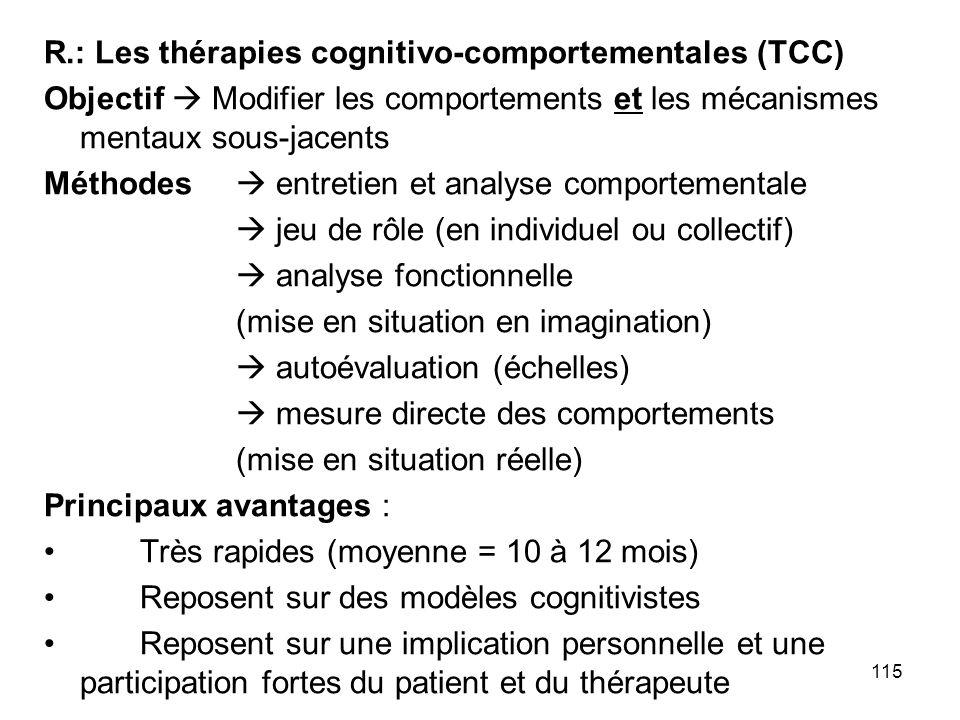 115 R.: Les thérapies cognitivo-comportementales (TCC) Objectif Modifier les comportements et les mécanismes mentaux sous-jacents Méthodes entretien e