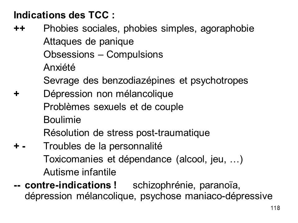 118 Indications des TCC : ++Phobies sociales, phobies simples, agoraphobie Attaques de panique Obsessions – Compulsions Anxiété Sevrage des benzodiazé