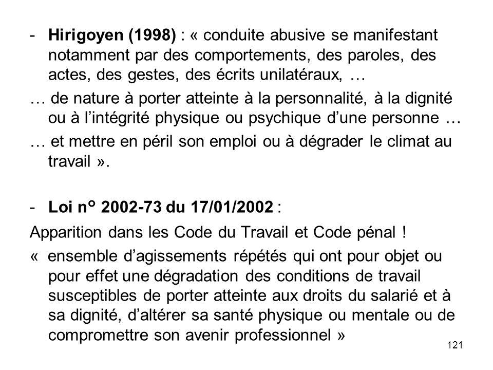 121 -Hirigoyen (1998) : « conduite abusive se manifestant notamment par des comportements, des paroles, des actes, des gestes, des écrits unilatéraux,