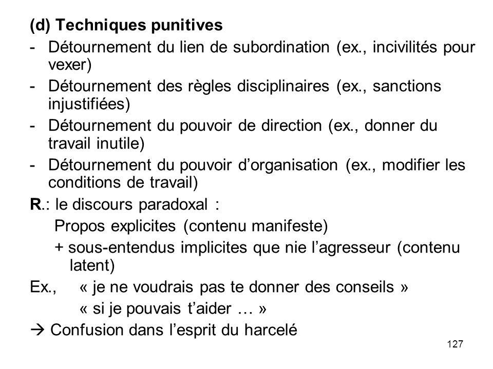 127 (d) Techniques punitives -Détournement du lien de subordination (ex., incivilités pour vexer) -Détournement des règles disciplinaires (ex., sancti