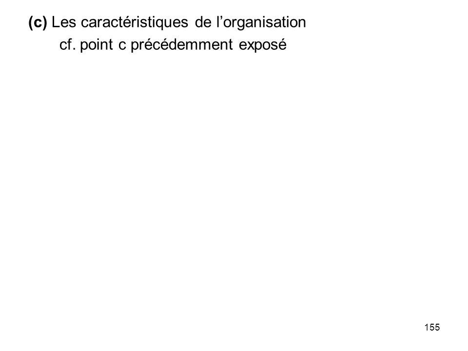155 (c) Les caractéristiques de lorganisation cf. point c précédemment exposé