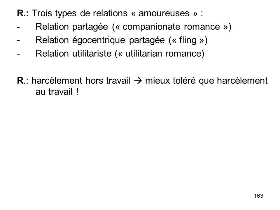 163 R.: Trois types de relations « amoureuses » : -Relation partagée (« companionate romance ») -Relation égocentrique partagée (« fling ») -Relation