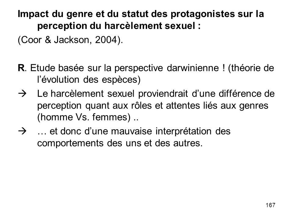 167 Impact du genre et du statut des protagonistes sur la perception du harcèlement sexuel : (Coor & Jackson, 2004). R. Etude basée sur la perspective