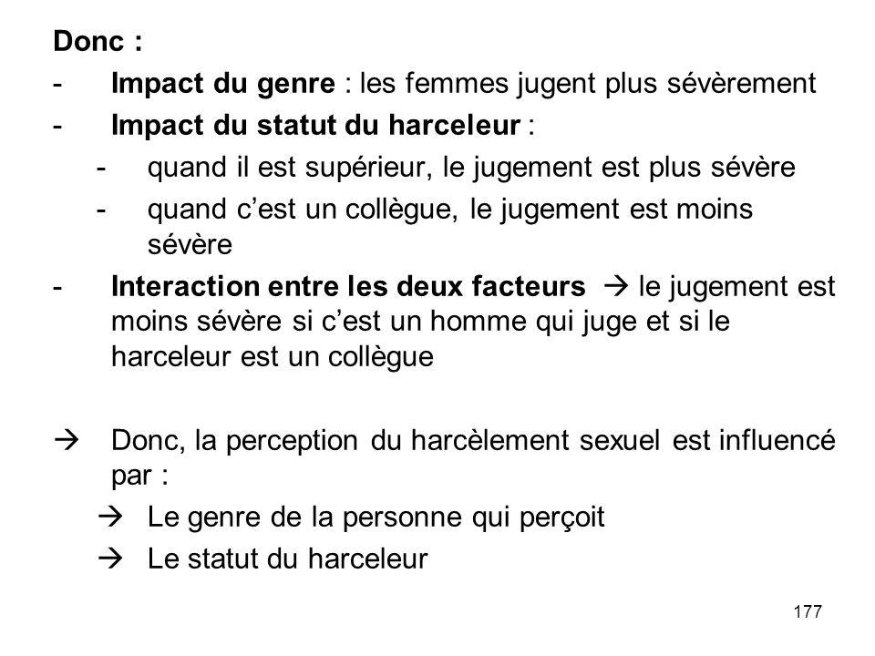 177 Donc : -Impact du genre : les femmes jugent plus sévèrement -Impact du statut du harceleur : -quand il est supérieur, le jugement est plus sévère