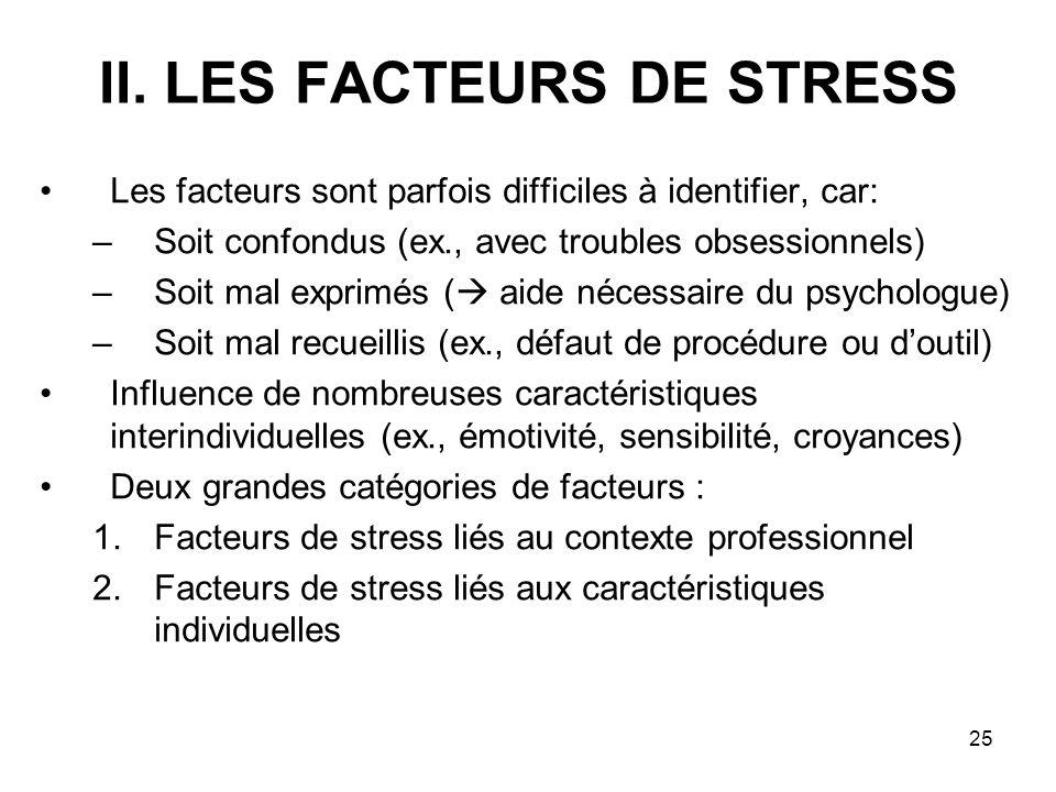 25 II. LES FACTEURS DE STRESS Les facteurs sont parfois difficiles à identifier, car: –Soit confondus (ex., avec troubles obsessionnels) –Soit mal exp