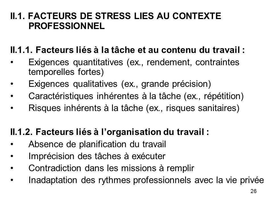 26 II.1. FACTEURS DE STRESS LIES AU CONTEXTE PROFESSIONNEL II.1.1. Facteurs liés à la tâche et au contenu du travail : Exigences quantitatives (ex., r