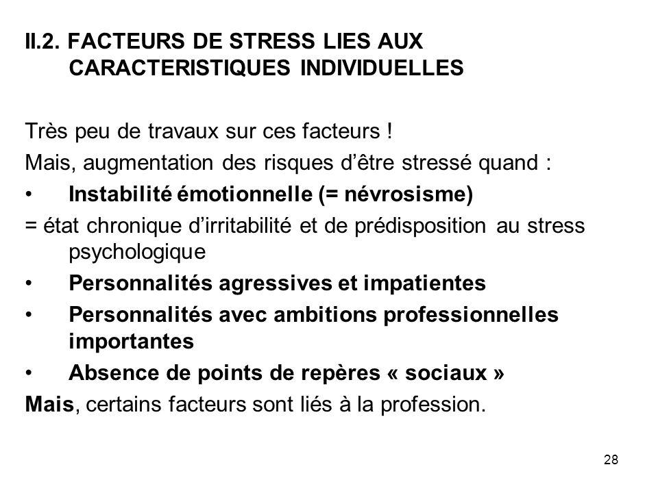28 II.2. FACTEURS DE STRESS LIES AUX CARACTERISTIQUES INDIVIDUELLES Très peu de travaux sur ces facteurs ! Mais, augmentation des risques dêtre stress