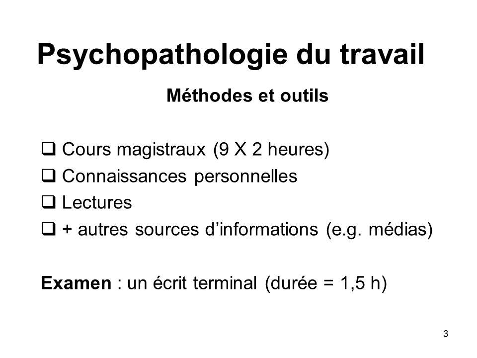 3 Psychopathologie du travail Méthodes et outils Cours magistraux (9 X 2 heures) Connaissances personnelles Lectures + autres sources dinformations (e
