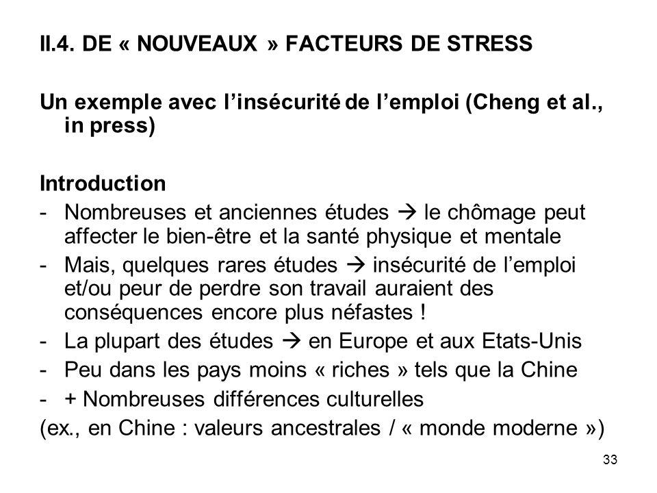 33 II.4. DE « NOUVEAUX » FACTEURS DE STRESS Un exemple avec linsécurité de lemploi (Cheng et al., in press) Introduction -Nombreuses et anciennes étud