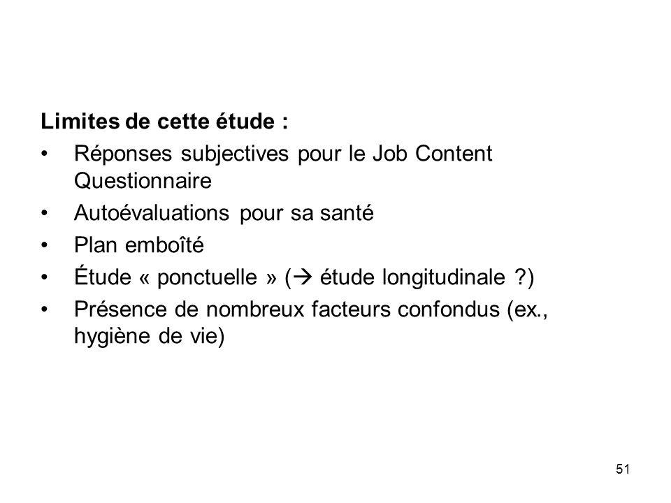 51 Limites de cette étude : Réponses subjectives pour le Job Content Questionnaire Autoévaluations pour sa santé Plan emboîté Étude « ponctuelle » ( é