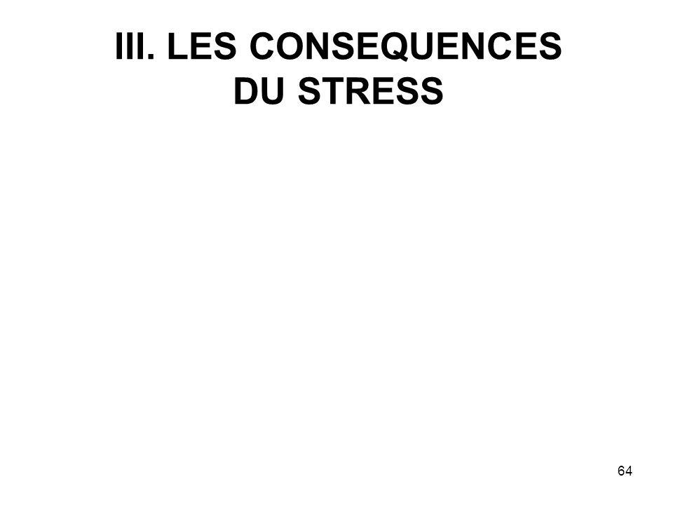 64 III. LES CONSEQUENCES DU STRESS