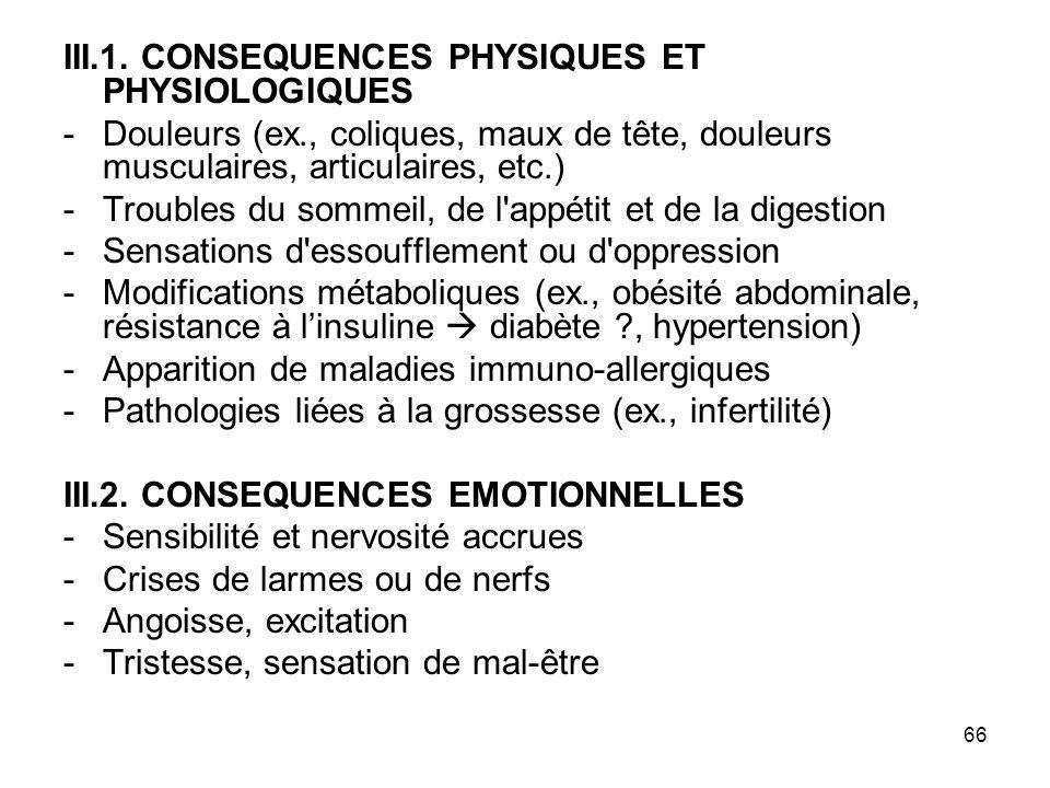 66 III.1. CONSEQUENCES PHYSIQUES ET PHYSIOLOGIQUES -Douleurs (ex., coliques, maux de tête, douleurs musculaires, articulaires, etc.) -Troubles du somm