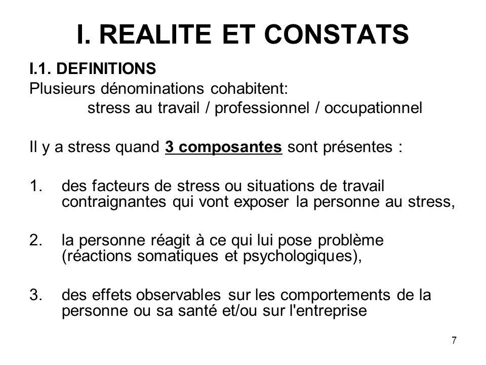 7 I. REALITE ET CONSTATS I.1. DEFINITIONS Plusieurs dénominations cohabitent: stress au travail / professionnel / occupationnel Il y a stress quand 3