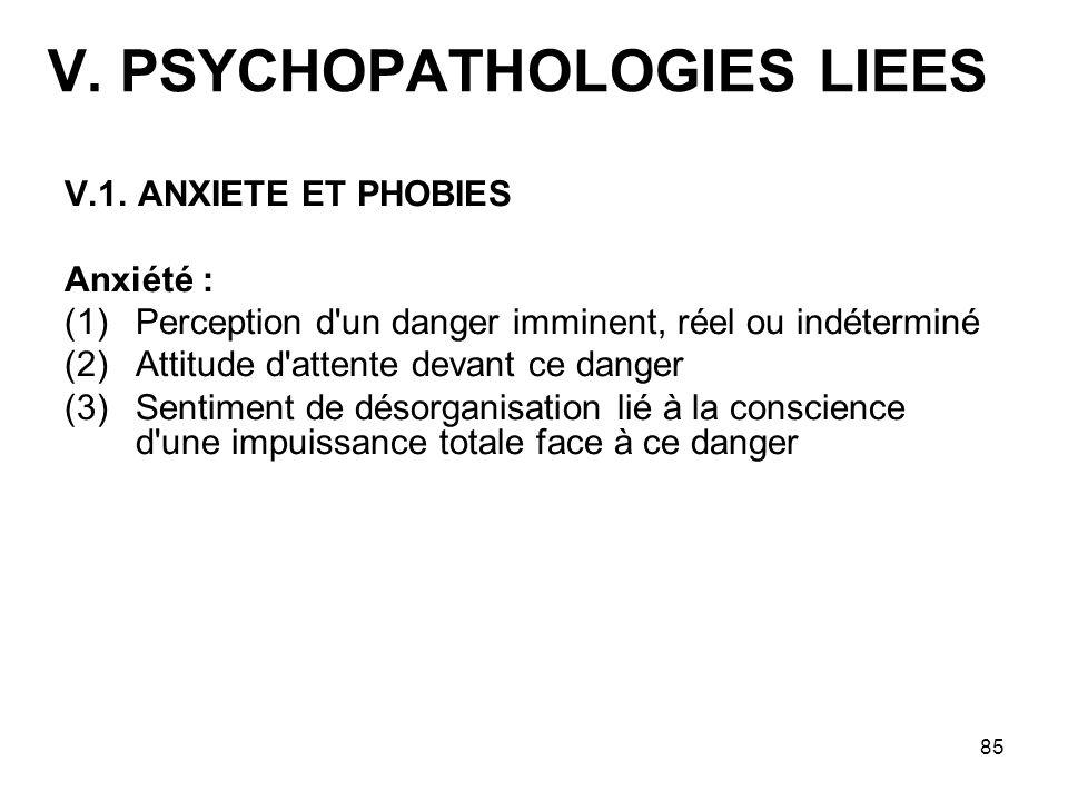 85 V. PSYCHOPATHOLOGIES LIEES V.1. ANXIETE ET PHOBIES Anxiété : (1)Perception d'un danger imminent, réel ou indéterminé (2)Attitude d'attente devant c
