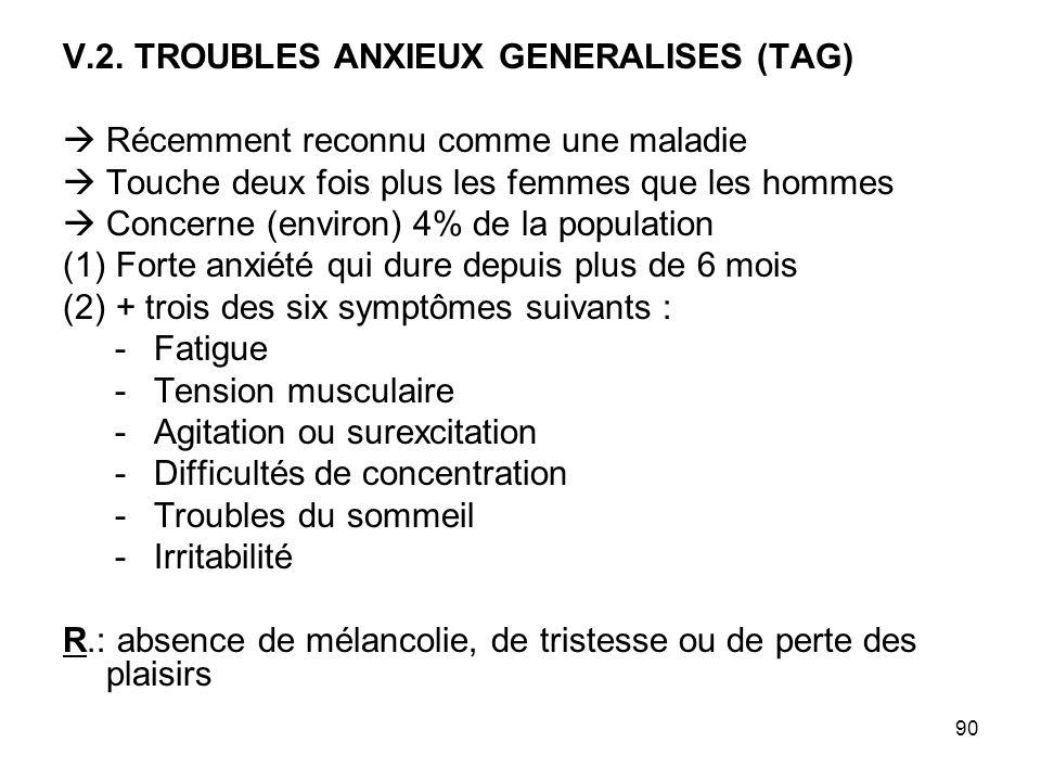 90 V.2. TROUBLES ANXIEUX GENERALISES (TAG) Récemment reconnu comme une maladie Touche deux fois plus les femmes que les hommes Concerne (environ) 4% d